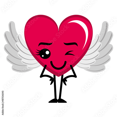 heart love happy with wings kawaii character vector illustration design - 187536343