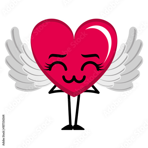 heart love with wings sad kawaii character vector illustration design - 187536364