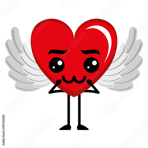 heart love with wings sad kawaii character vector illustration design - 187536380
