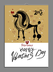 Valentine's card with loving poodle. Template for Valentine's Day. Symbol 2018 Dog on the Chinese calendar.