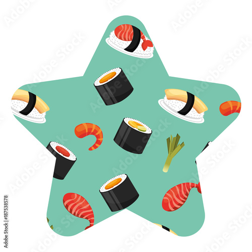 Poster seamless pattern healthy food chinese sushi vector illustration