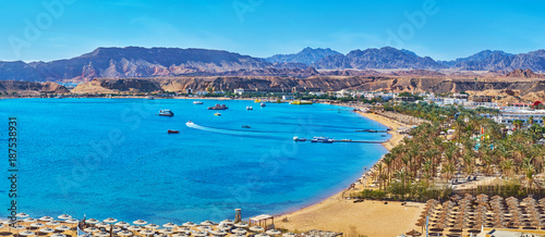 Panorama of El Maya bay beaches, Sharm El Sheikh, Egypt