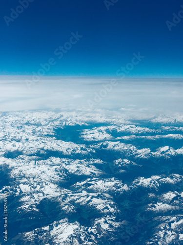 Beautiful aerial landscape view. mountain view from airplane