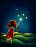 Girl trying to catch a star - 187541558