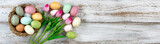 Easter eggs in nest with tulips on rustic white wooden background