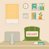 vector illustration of a vacant concept, office chair, business job vacancy, hiring recruitment - 187549530
