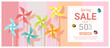 Spring sale banner with colorful pinwheels , vector , illustration