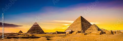 Great Pyramids of Giza, Egypt, at sunset - 187558574