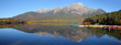 Panoramic view of Pyramid lake in Jasper national park