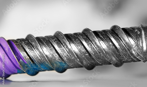 Extreme close up shot of Machine screw