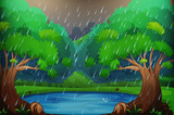 Background scene with forest in the rain - 187564160