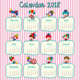 2018 calendar design with happy clowns - 187564175