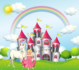 Background scene with princess and unicorn at pink castle - 187564176