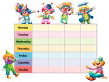 Timetable template with days of the week and clowns - 187564191