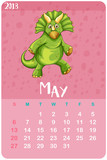 Calendar template for May with triceratops - 187564304