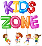 Kids zone with happy kids and balloons - 187564311