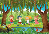 Raining scene with kids in forest - 187564314