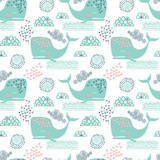 Vector seamless pattern with whales - 187564762
