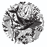 Round vector print with a whale - 187564778