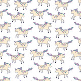 Happy unicorns seamless pattern - 187564799