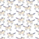 Happy unicorns seamless pattern