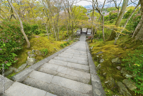 Poster Stair in garden in Kyoto, Japan