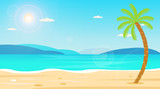 Tropical Beach Travel Holiday Vacation Leisure Nature Concept illustration.Beautiful seascape  and sky background.Travel concept.