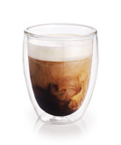 Hot coffee with milk in a glass with double walls isolated on white background. - 187574368