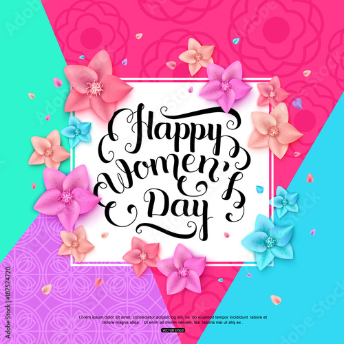 International Women's Day Greeting Card. Vector illustration