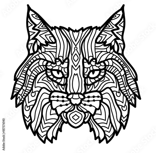 Hand Drawn Lynx Head Animal Isolated Doodle Line Graphic Design