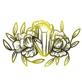 Crystal with peony flowers. Beautiful illustration with crystal quartz and flowers. - 187577141