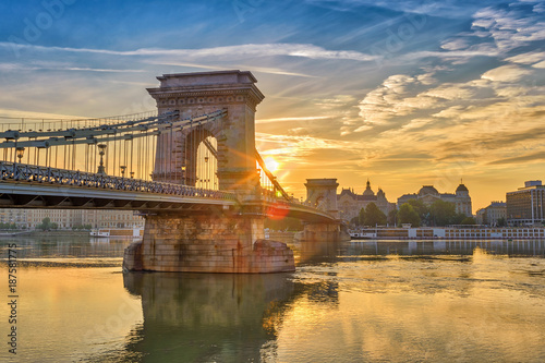 Budapest sunrise city skyline at Budapest Chain Bridge and Danube River, Budapest, Hungary