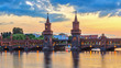 Berlin sunset city skyline at Oberbaum Bridge and Spree River, Berlin, Germany