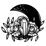 Moon crystal with peony flowers. Beautiful illustration with crystal quartz,moon and flowers. - 187582181