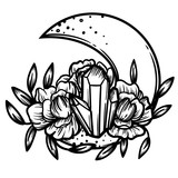Moon crystal with peony flowers. Beautiful illustration with crystal quartz,moon and flowers. - 187582195
