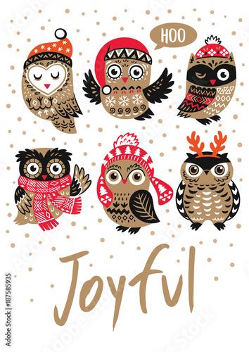 Keuken foto achterwand Uilen cartoon Winter print with cartoon owls and text Joyful in vector