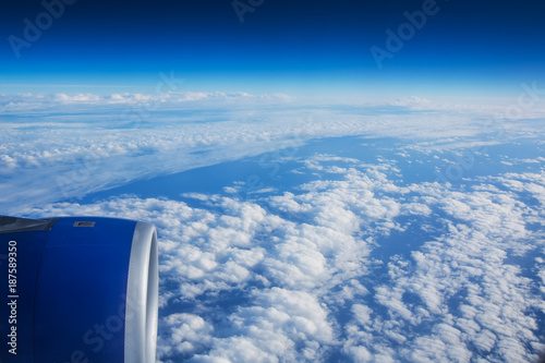 Flying above the clouds. view from the airplane window