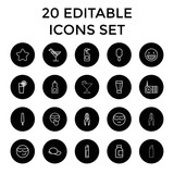 Cool icons. set of 20 editable outline cool icons - 187590103