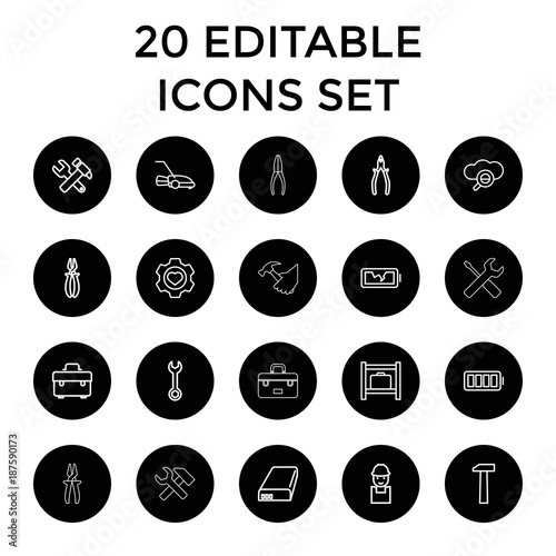 Maintenance icons. set of 20 editable outline maintenance icons
