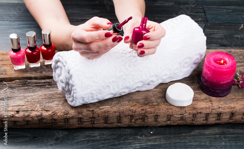 Foto op Canvas Manicure Beautiful woman Hands and sole. Manicure concept
