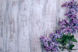 Spring background with blooming lilac in rustic style - 187591710