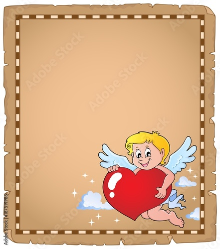 Poster Voor kinderen Cupid holding stylized heart parchment 2