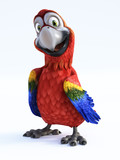 3D rendering of cartoon parrot smiling.