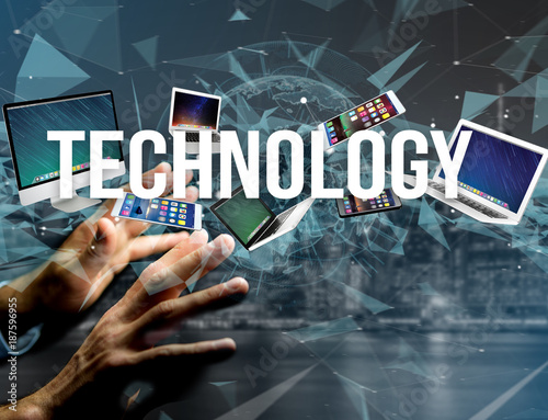 Foto Murales Technology title surounded by device like smartphone, tablet or laptop - Internet and communication concept