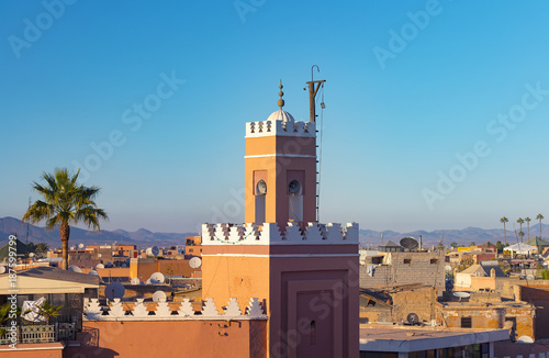 Keuken foto achterwand Marokko Panoramic view of Marrakech or Marrakesh with the old part of town Medina and minaret