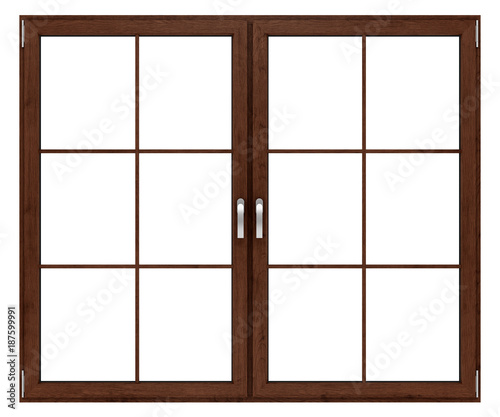 Foto Murales brown wooden window isolated on white background