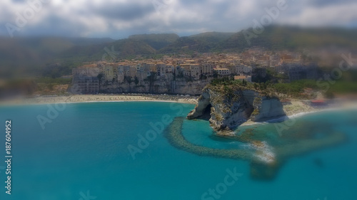 Deurstickers Groen blauw Panoramic aerial view of Tropea coastline and beaches in summer, Calabria - Italy