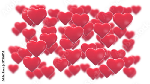 Abstract 3d background greeting card with Valentines hearts shapes