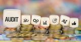 Audit / Münzenstapel mit Symbole