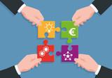 projet - solution - puzzle - équipe - partenariat - entreprise - concept - conception - production - distribution,  - 187607592